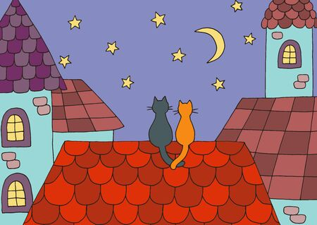 Cartoon picture with two cats in love on the roof at night under the moon and stars. Vector illustration for children's book design