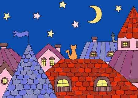 Cartoon picture with one cat on the roof at night under the moon and stars. Vector illustration for children's book design Ilustracja