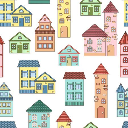 Vector seamless pattern with cute cozy colorful houses on a white background, for packaging design, covers, and print Ilustracja