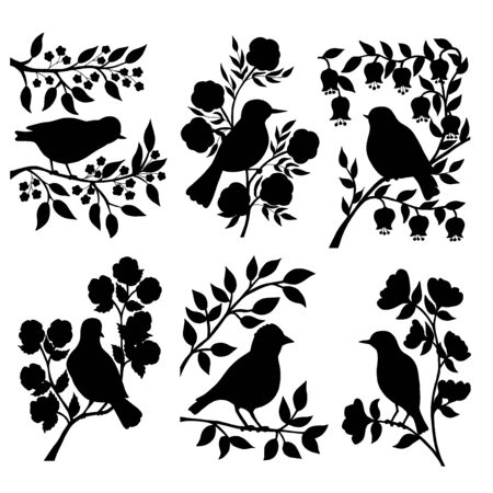 Vector set of black silhouettes of birds on branches with flowers and leaves on a white background