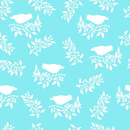 Vector seamless pattern with white bird silhouettes on a flowering branch on a blue background, for packaging design, covers, wallpaper, print on textiles