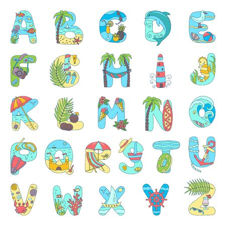 Vector hand-drawn abstract alphabet on the theme of summer holidays at the sea, isolate on a white background