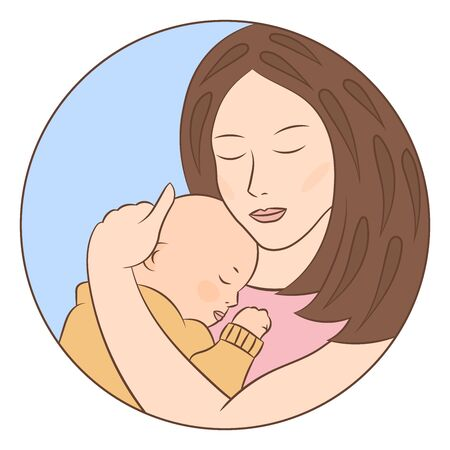 A caring loving mother holds a cute sleeping baby in her arms. Vector illustration