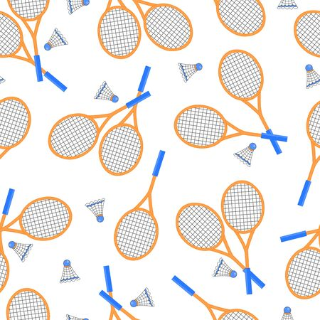 Vector seamless pattern with badminton rackets and shuttlecocks on a white background Vectores