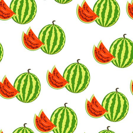 Vector seamless pattern with a delicious big sweet watermelon on a white background, Vector seamless pattern with a musical instrument guitar on a white background, for packaging design, covers, wallpaper, print on textiles