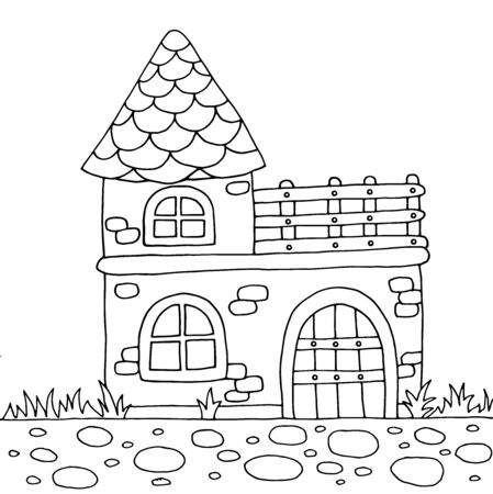Cute old country house in the summer nature, coloring page for children and adults