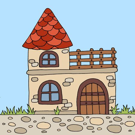 Hand-drawn cute old country house in summer nature, vector illustration for children's books Ilustrace