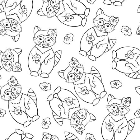 Vector seamless pattern with cute raccoons with flowers on the head and paw, coloring page
