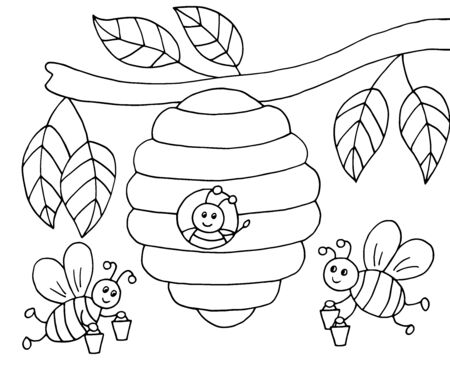Hand-drawn cartoon bees with honey and a beehive on a tree, coloring page, vector illustration Ilustrace