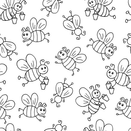 Vector seamless pattern with hand-drawn cute cartoon bees with honey, coloring page for children and adults