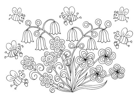 Hand-drawn coloring page with cute bees and flowers in a meadow in summer, vector illustration, for children and adults Ilustrace