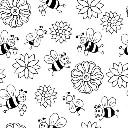 Vector seamless pattern with hand-drawn cute cartoon bees with honey and flowers, coloring page for children and adults Ilustrace