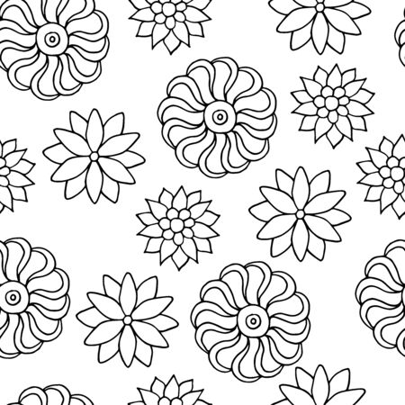 Seamless pattern with hand-drawn flowers, coloring page, vector illustration