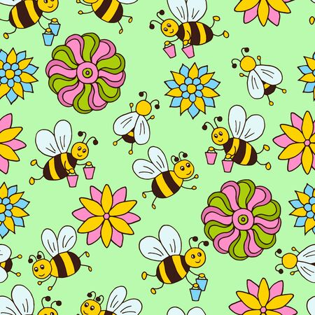 Vector seamless pattern with hand drawn cute cartoon bees and multicolored flowers on a green background, for packaging design, covers, wallpaper, print on textiles