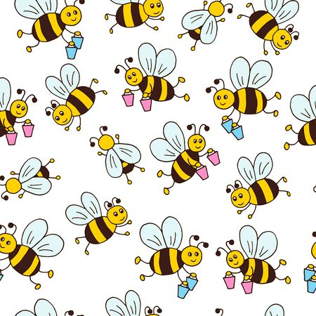 Vector seamless pattern with hand drawn cute cartoon bees on a white background, for packaging design, covers, wallpaper, print on textiles