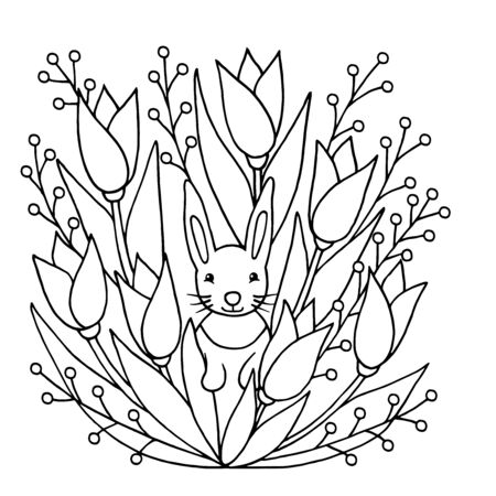 Coloring page with cute funny rabbit and wild flowers. Square version. Vector illustration with animals and nature for children's books.