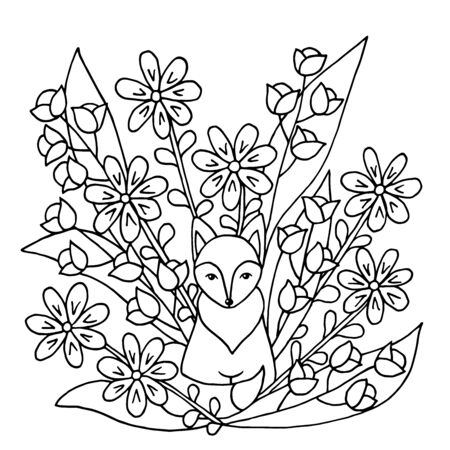 Coloring page with cute funny fox and wild flowers. Square version. Vector illustration with animals and nature for children's books. Ilustrace