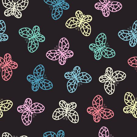 Vector seamless pattern with hand drawn multicolored abstract butterflies on a dark background, , for cover design, packaging, greeting cards, textile print