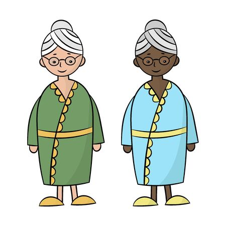 Set with two grandmothers: black African and white Caucasian ethnic group. Vector illustration. Isolate on a white background Ilustrace