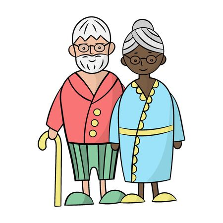 White Caucasian grandfather and black African grandmother on a white background. Vector illustration