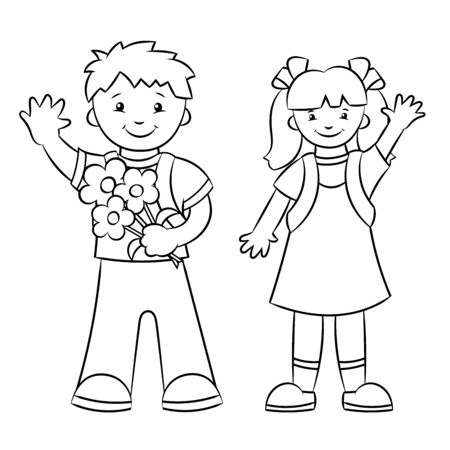 Coloring book page schoolboy and a schoolgirl, a boy and a girl. Back to school. Vector illustration