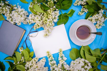 Flatlay with branches of white lilac, book, glasses and tea on a blue background Reklamní fotografie