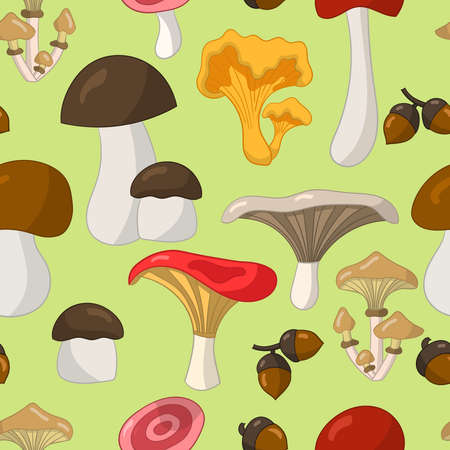 Vector seamless pattern with colorful edible mushrooms on a green background, for cover design, packaging, greeting cards, textile print