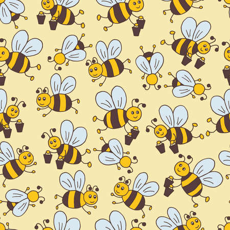 Vector seamless pattern with hand drawn cute cartoon bees on a yellow background, for packaging design, covers, wallpaper, print on textiles