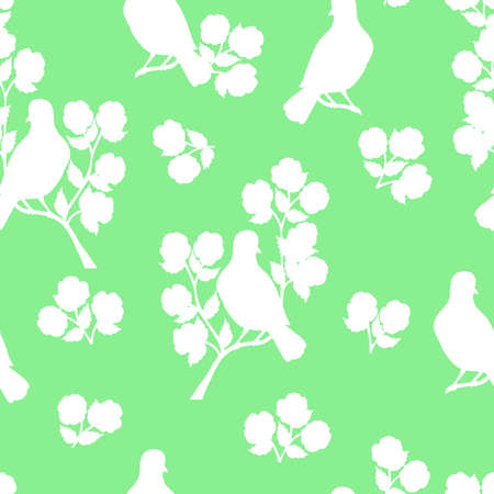 Vector seamless pattern with white pigeon, bird silhouettes on a flowering branch on a green background, for packaging design, covers, wallpaper, print on textiles