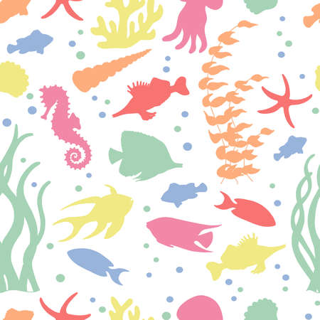 Vector seamless pattern with colorful sea fish silhouettes on a white background. For design of covers, books, packaging, print on wallpaper, textiles