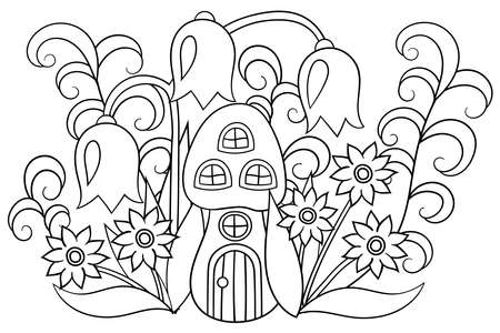 Vector horizontal coloring page with a house mushroom and flowers in the forest Ilustrace