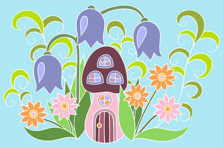 Vector illustration with a mushroom house and flowers in the forest, for packaging, postcards, children's books
