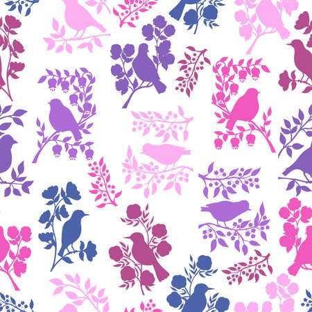 Vector seamless pattern with pink and purple silhouettes of birds on branches with flowers and leaves on a white background, for packaging design, covers, wallpaper, print on textiles