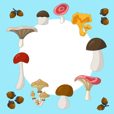 Vector frame with colorful edible mushrooms on a blue background, for cover design, packaging, textile print