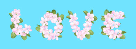 The word LOVE from pink apple blossom flowers, isolate on a blue background Ilustrace