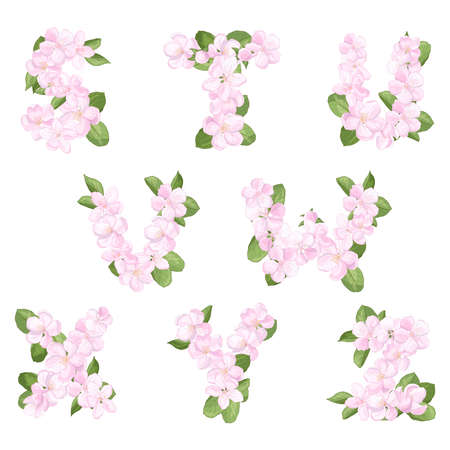 Letters SZ of the English alphabet from pink apple blossoms flowers, isolate on a white background, font for festive decoration of weddings, birthdays, celebrations Stock fotó
