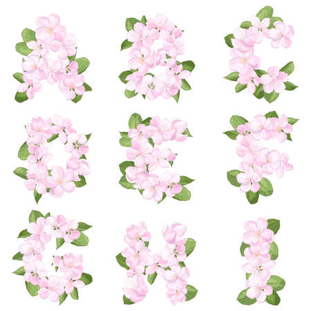 Letters AI of the English alphabet from pink apple blossoms flowers, isolate on a white background, font for festive decoration of weddings, birthdays, celebrations