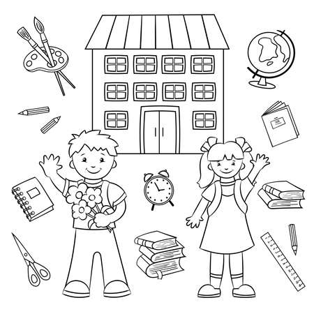 Back to school. Coloring page. Schoolboy and schoolgirl, boy and girl and school supplies: globe, books, scissors, ruler and more