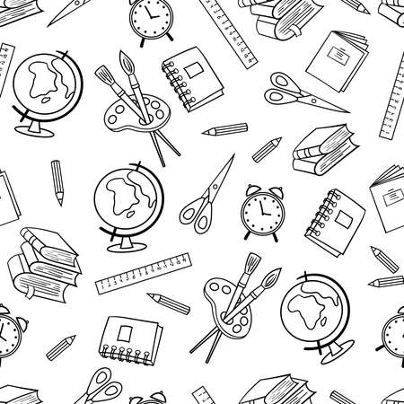 Seamless pattern with a set of school supplies: globe, pencil, brush, paint, scissors, books. Coloring page