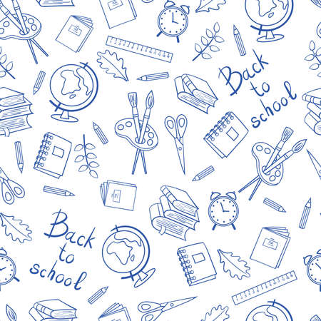 Vector seamless pattern on a school theme: students and subjects for study. Blue outline on a white background. For packaging design, covers, textile printing