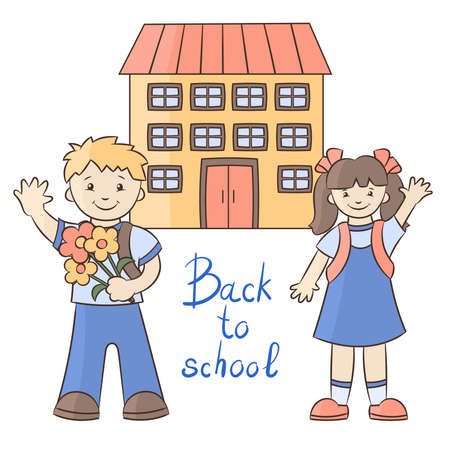 A schoolboy and a schoolgirl with satchels on the background of the school building. The beginning of the school year. Vector illustration.