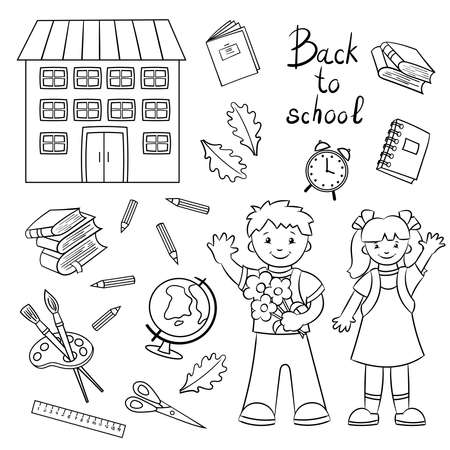 Coloring page. Schoolboy and schoolgirl, boy and girl and school supplies: globe, books, scissors, ruler.