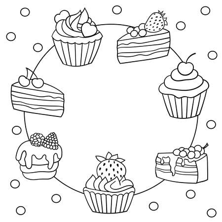 Vector frame with a set of sweet cakes with berries, coloring page for children and adults