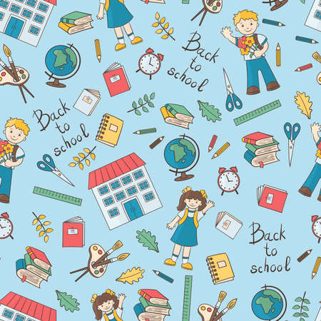 Vector seamless pattern on a school theme: school children, globe, alarm clock, notebook, book, pencil, etc. on a blue background, for the design and decoration of covers, packaging, print on textiles Ilustrace