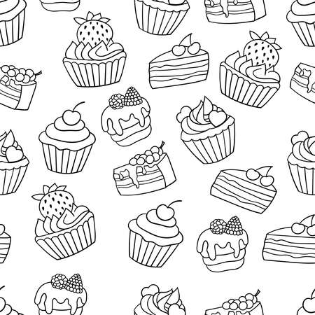 Vector seamless background with sweet cakes with berries, coloring page for children and adults Ilustrace