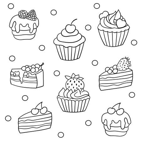 Vector set of sweet cakes with berries, coloring page for children and adults