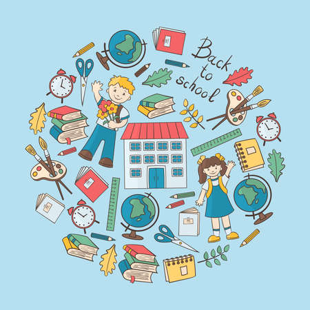 Back to school: students, globe, alarm clock, notebook, book, pencil, etc. in a circle on a blue background, for the design and decoration of covers, packaging, print on textiles