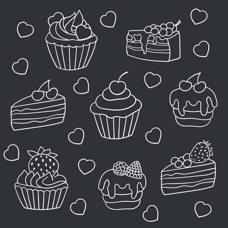 Vector set of sweet cakes with berries, white outline on a dark gray background
