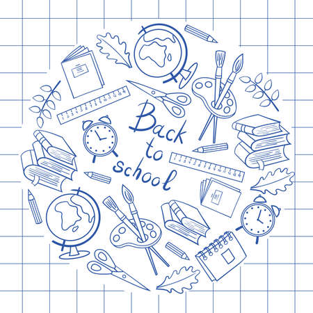 Back to school: globe, alarm clock, notebook, book, pencil, etc. in a circle, drawn in a notebook with a blue pen, for the design and decoration of covers, packaging, print on textiles