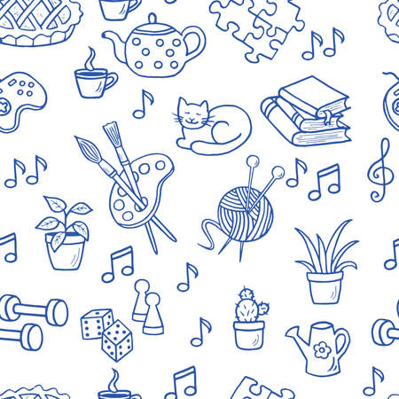 Vector seamless pattern of hand-drawn doodle home activities, hobbies: drawing, knitting, guitar, indoor plants, books and reading, tea drinking, board games. Blue outline on a white background Ilustrace